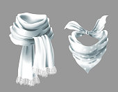 Vector 3d realistic silk white scarf. Fabric cloth of dotted neckerchief. Gray in white peas bandana, outerwear of western cowboy. Unisex accessory isolated on background