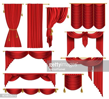 Vector 3d realistic set of red luxury curtains : stock vector