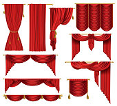 Vector 3d realistic set of red luxury curtains, open and closed, with drapery and decorative cords and tassels isolated on background. Textile drape, decor elements for theater and cinema posters