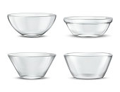 Vector 3d realistic transparent tableware, glass dishes for different food. Containers with shadows, tureens and crystal glassware with reflections. Clear bowls, translucent ceramic.