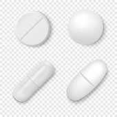 Vector 3d Realistic White Medical Pill Icon Set Closeup Isolated on Transparent Background. Design template of Pills, Capsules for graphics, Mockup. Medical and Healthcare Concept. Top View.