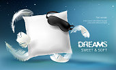 Vector 3d realistic illustration with white pillow, sleep mask, feathers, isolated on blue night background. Soft cushion for comfortable sleep and sweet dreaming. Mockup for presentation your product