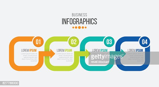 Vector 4 steps timeline infographic template with arrows : stock vector