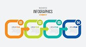 Vector 4 steps timeline infographic template with arrows. Vector illustration
