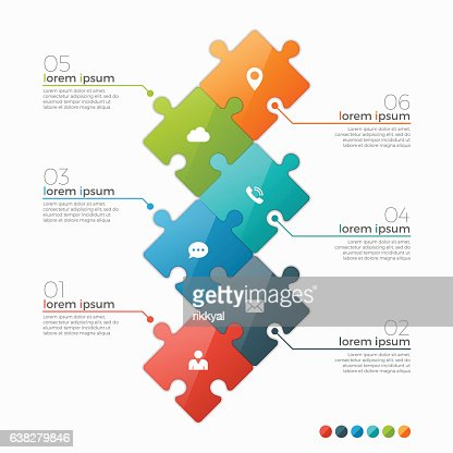 Vector 6 options infographic template with puzzle sections : stock vector