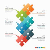 Vector 6 options infographic template with puzzle sections for presentations, advertising, layouts, annual reports