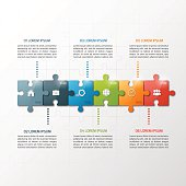 Vector 6 steps puzzle style timeline infographic template. Business concept.
