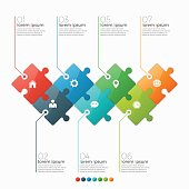 Vector 7 options infographic template with puzzle sections for presentations, advertising, layouts, annual reports