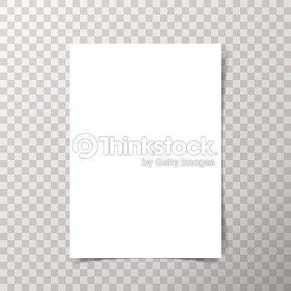 vector a4 format paper with shadows on transparent background