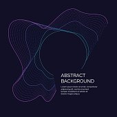 Vector abstract background with a dynamic waves and particles. Illustration suitable for motion design. The elements on a dark blue background