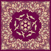 Vector abstract bandana peacock beige print on a dark purple background. Floral pattern from colorful hand drawn rose flowers, fantasy leaves and fairy tale ornate cute birds. Scarf, shawl, textile pa