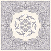 Vector abstract bandana peacock blue print on beige background. Floral pattern from hand drawn rose flowers, fantasy leaves and fairy tale ornate cute birds. Scarf, shawl, textile patch, carpet