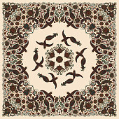 Vector abstract bandana peacock print on a beige background. Floral pattern from dark hand drawn rose flowers, fantasy leaves and fairy tale ornate cute birds. Scarf, shawl, textile patch, carpet
