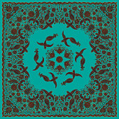 Vector abstract bandana peacock print on a turquoise green background. Floral pattern from dark hand drawn rose flowers, fantasy leaves and fairy tale ornate cute birds. Scarf, shawl, textile patch, c