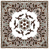 Vector abstract bandana peacock print on white background. Floral pattern from dark hand drawn rose flowers, fantasy leaves and fairy tale ornate cute birds. Scarf, shawl, textile patch, carpet