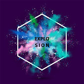 Vector watercolor banner. Abstract background of powder multicolored explosion.
