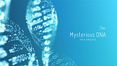 Vector abstract blue DNA double helix illustration with shallow depth of field. Mysterious source of life background. Genom futuristic image. Conceptual design of genetics information