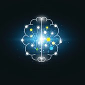 vector abstract digital electric brain, science background