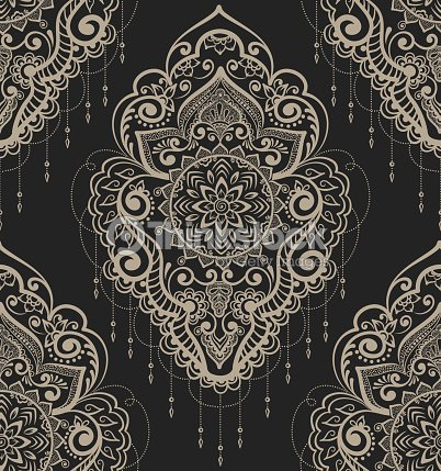 Vector Abstract Floral Pattern Element In Indian Mehndi Style