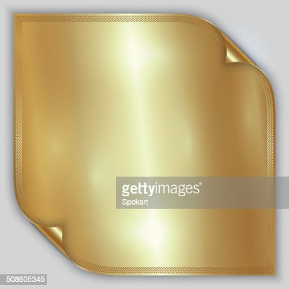 Vector abstract golden metallic rolled foil sheet with border : Vector Art