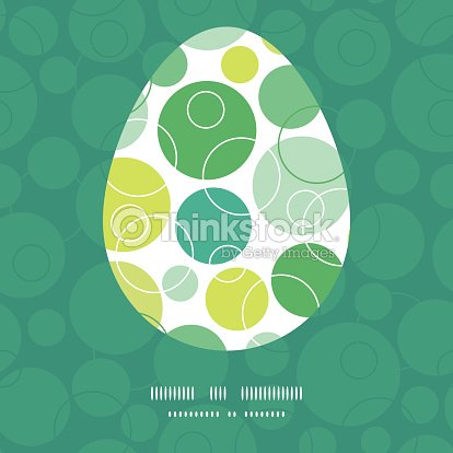Vector Abstract Green Circles Easter Egg Sillhouette Frame Card Template Art