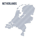 Vector abstract hatched map of Netherlands with oblique lines isolated on a white background. Travel vector illustration.