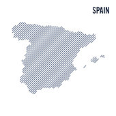 Vector abstract hatched map of Spain with oblique lines isolated on a white background. Travel vector illustration.