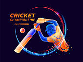 Vector abstract illustration of batsman playing cricket from coloured liquid splashes and brush strokes with neon lines and colored dots. Championship and competition sports. 3d player silhouette.