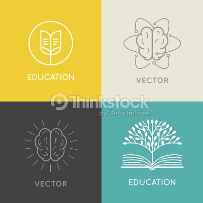 vector abstract logo design template online education and lear