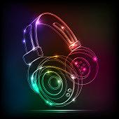 Vector neon Headphones,contains transparencies