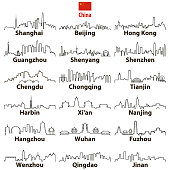 vector abstract otline icons of chinese cities skylines