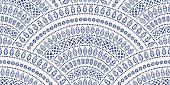 Vector abstract seamless geometrical background from blue fan shaped ornate elements with ethnic patterns on a white background. Watercolor painting texture.Folklore, tribal. Art deco wallpaper, wrapp