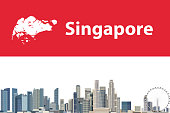 vector abstract travel card with map and skyline of Singapore