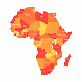 Vector African map with countries borders. Abstract red and yellow African countries on map isolated on white background