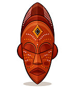 Vector illustration of african mask wood concept