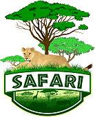 vector african savannah safari emblem with lioness