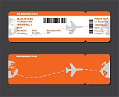 Flat design of airline travel boarding pass two tickets. Vector template or mock up of two tickets isolated on grey background.