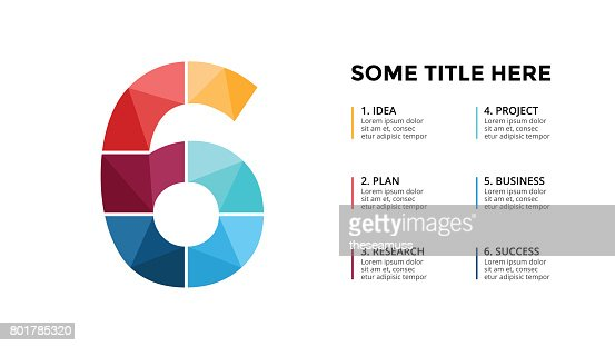 Vector alphabet infographic. Presentation slide template. Business font concept with number 6 and place for your text. 16x9 aspect ratio : stock vector