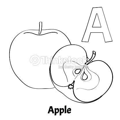 Letra A Página Para Colorear Del Alfabeto Vector Apple Arte ...