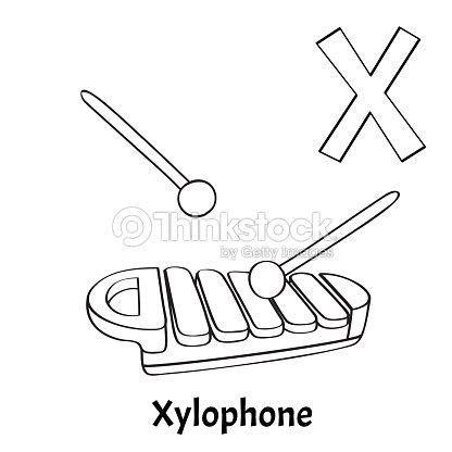 Vektor Alphabet Buchstaben X Malvorlagen Xylophon Vektorgrafik