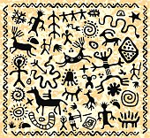 vector ancient cave petroglyphs pattern
