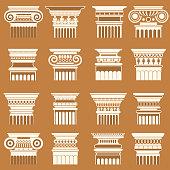 Ancient greek roma column capitals silhouette set