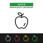 Vector apple icon. Premium quality graphic design. Modern linear stroke signs, pictograms, outline symbols collection, simple thin line icons set for websites, web design, mobile app, infographics