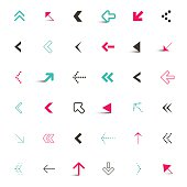 Simple Flat Design Vector Arrows Icons Set Illustration