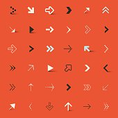 Vector Arrows Set on Red Retro Background