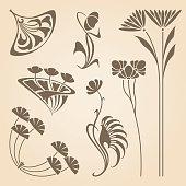 Vector set of vintage art nouveau design elements.