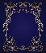 Vector art nouveau gold iris ornamental frame with space for text.