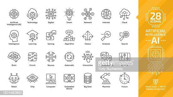 Icono de vector inteligencia artificial editables de movimiento fino contorno conjunto con máquina de aprendizaje inteligente robótica y tecnología de AI digital red de computación en nube: internet, problemas, algoritmo, signo de elección. : arte vectorial