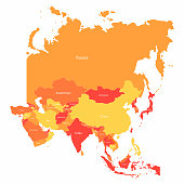Vector Asia map with countries borders. Abstract red and yellow Asia countries on map for infographic