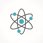 Vector atom icon isolated on white background.